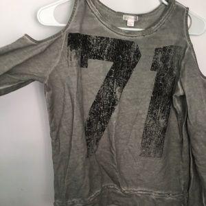 Grey and black cold shoulder shirt.